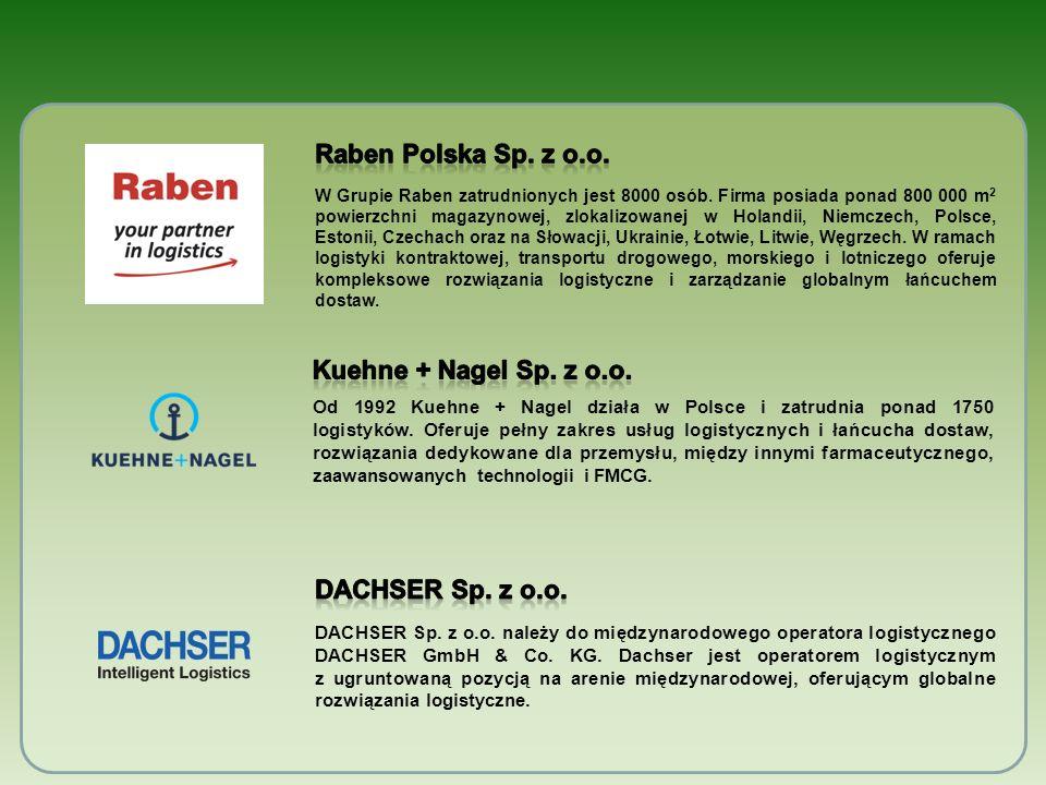 Raben Polska Sp. z o.o. Kuehne + Nagel Sp. z o.o. Dachser Sp. z o.o.