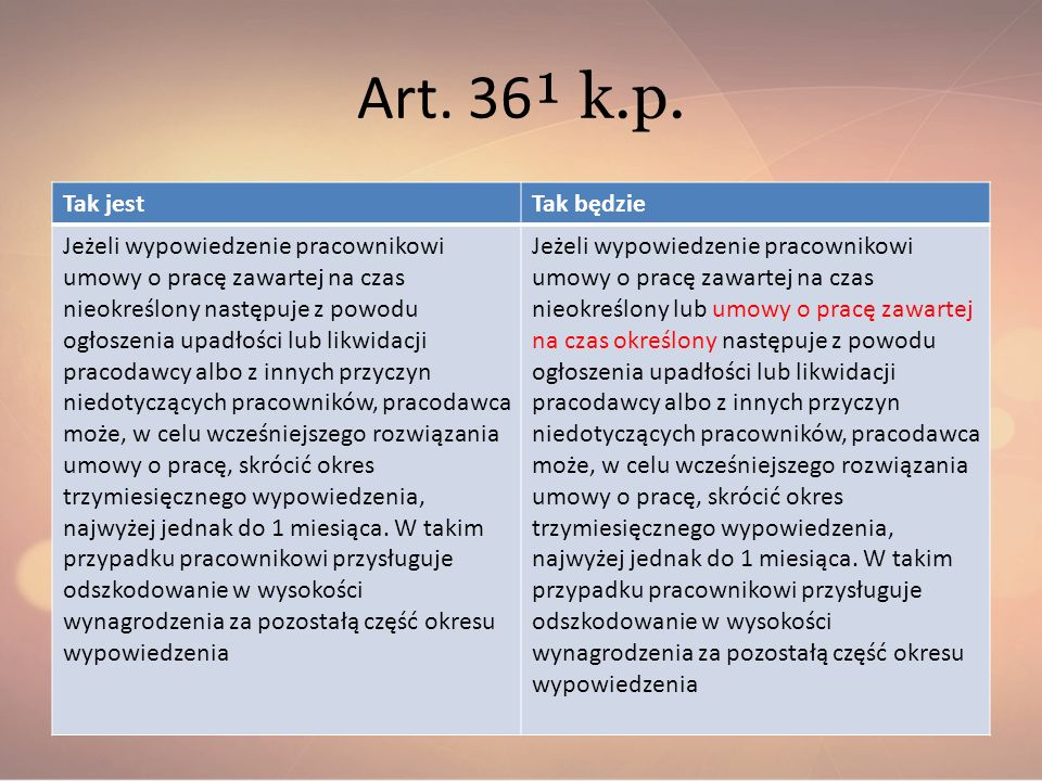 Art. 36¹ k.p. Tak jest Tak będzie