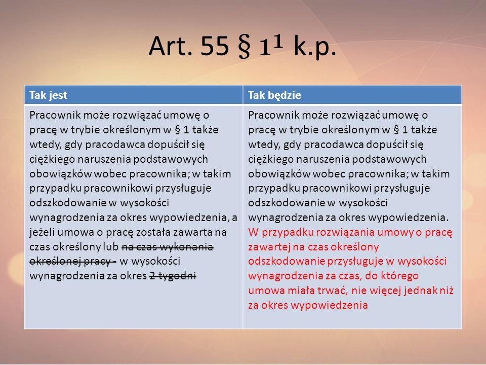 Art. 55 § 1¹ k.p. Tak jest Tak będzie