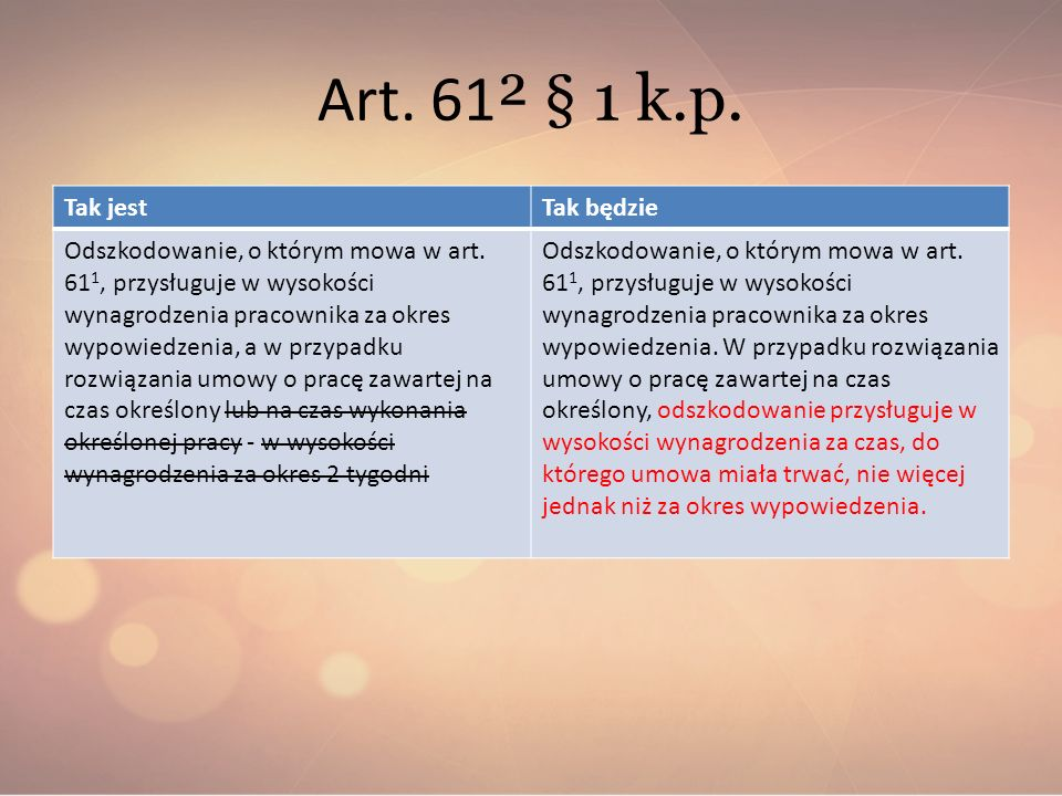 Art. 61² § 1 k.p. Tak jest Tak będzie
