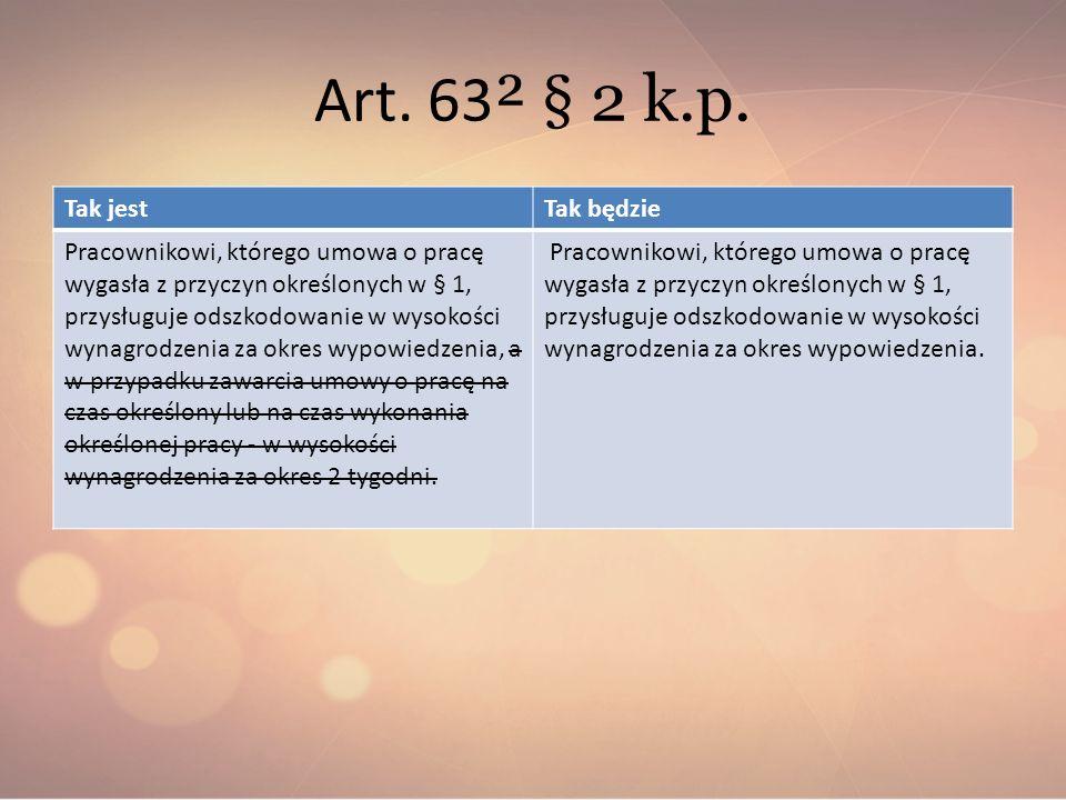 Art. 63² § 2 k.p. Tak jest Tak będzie