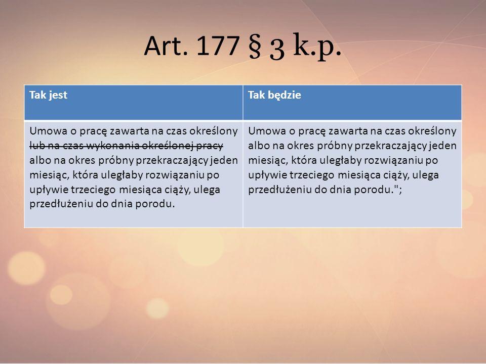 Art. 177 § 3 k.p. Tak jest Tak będzie