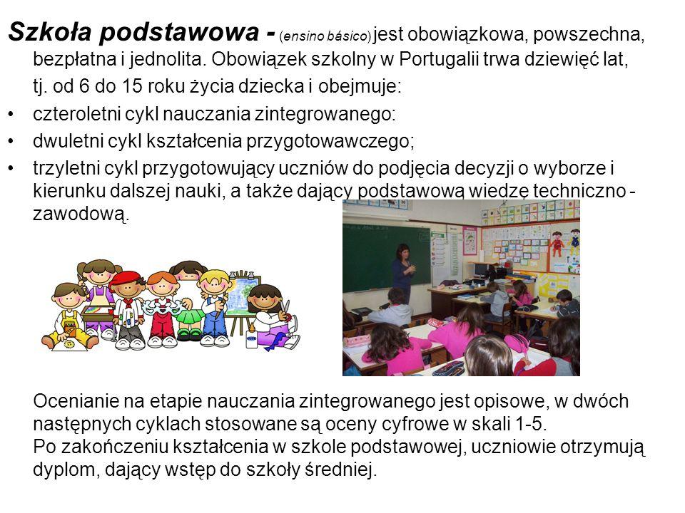 Szkoła podstawowa - (ensino básico) jest obowiązkowa, powszechna, bezpłatna i jednolita. Obowiązek szkolny w Portugalii trwa dziewięć lat,