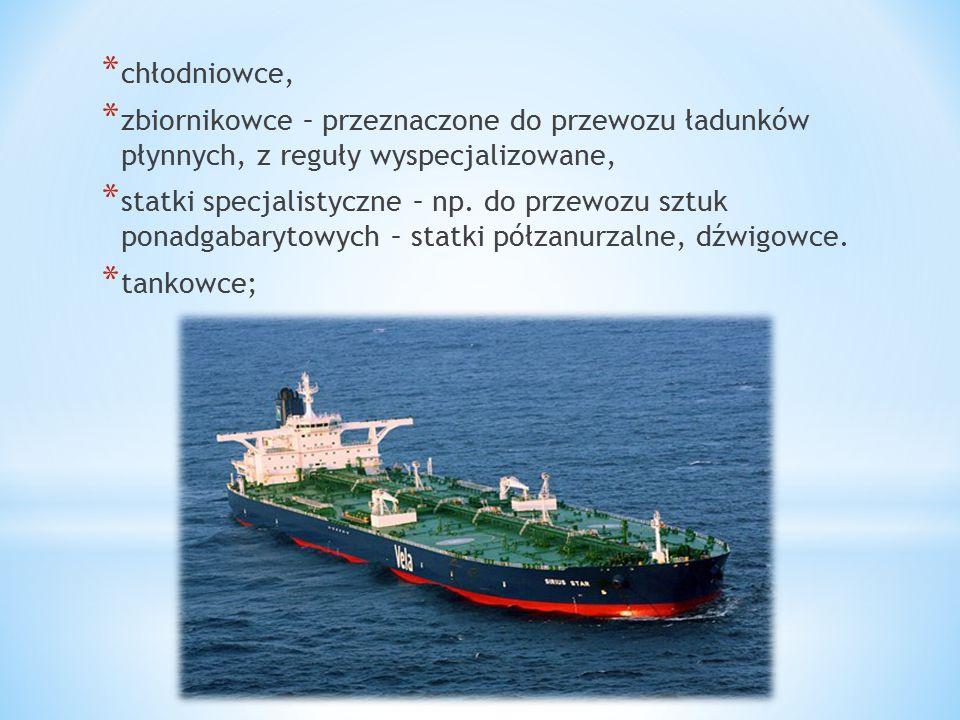 chłodniowce, zbiornikowce – przeznaczone do przewozu ładunków płynnych, z reguły wyspecjalizowane,