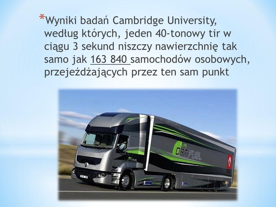 Wyniki badań Cambridge University, według których, jeden 40-tonowy tir w ciągu 3 sekund niszczy nawierzchnię tak samo jak 163 840 samochodów osobowych, przejeżdżających przez ten sam punkt