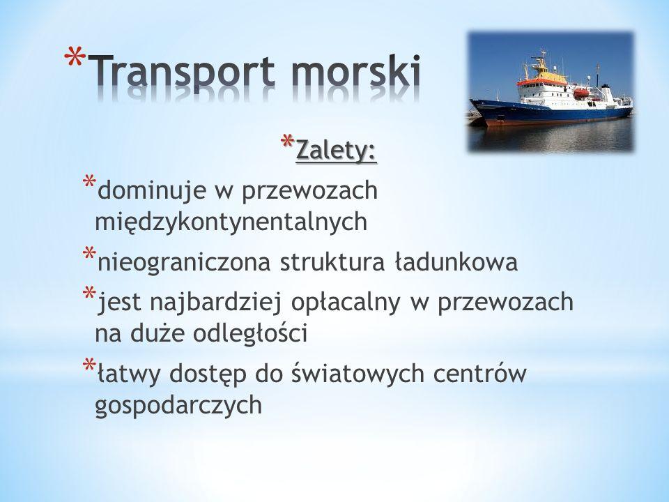 Transport morski Zalety: dominuje w przewozach międzykontynentalnych