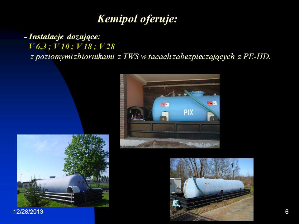 Kemipol oferuje: - Instalacje dozujące: