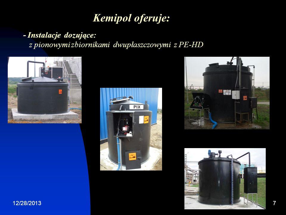 Kemipol oferuje: - Instalacje dozujące: z pionowymi zbiornikami dwupłaszczowymi z PE-HD.