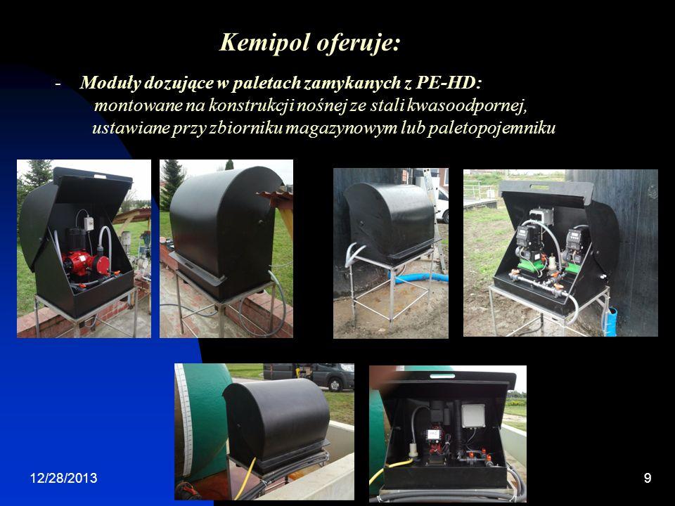 Kemipol oferuje: Moduły dozujące w paletach zamykanych z PE-HD: montowane na konstrukcji nośnej ze stali kwasoodpornej,