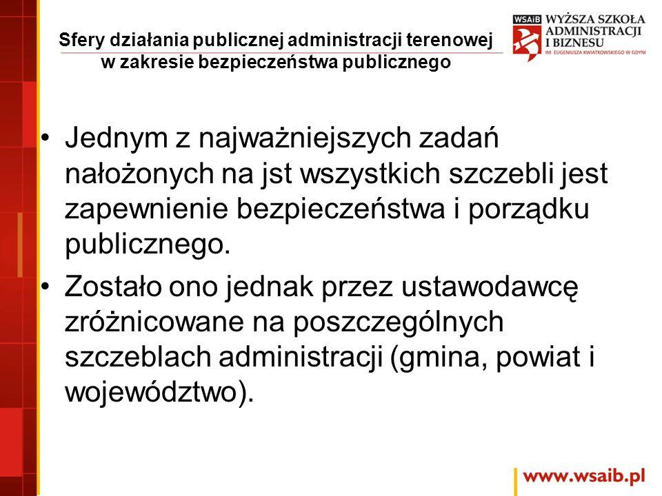 Sfery działania publicznej administracji terenowej w zakresie bezpieczeństwa publicznego