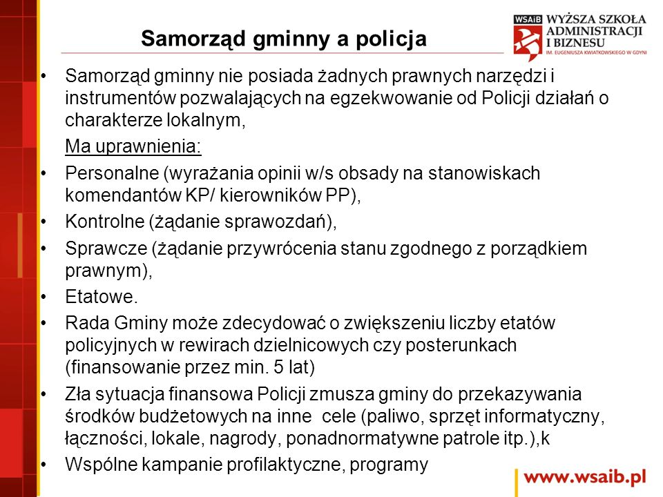 Samorząd gminny a policja