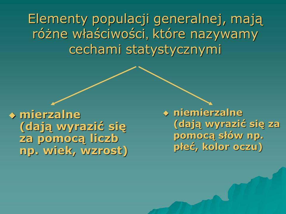 Elementy populacji generalnej, mają różne właściwości, które nazywamy cechami statystycznymi