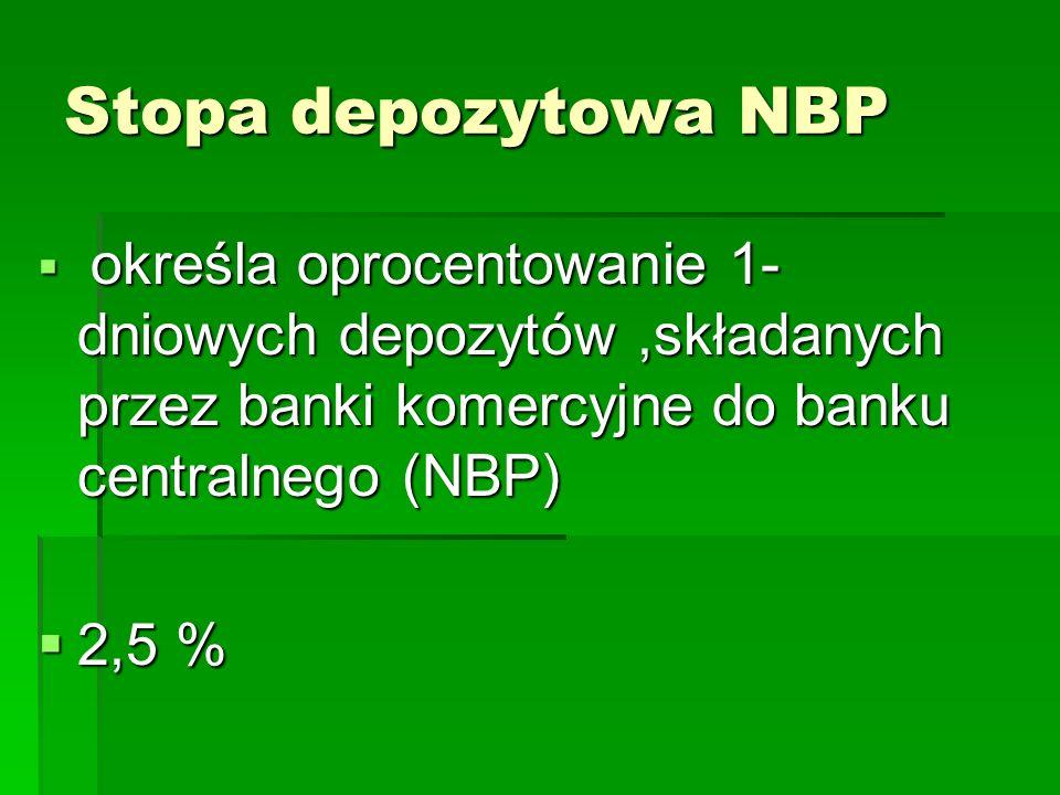 Stopa depozytowa NBP określa oprocentowanie 1- dniowych depozytów ,składanych przez banki komercyjne do banku centralnego (NBP)