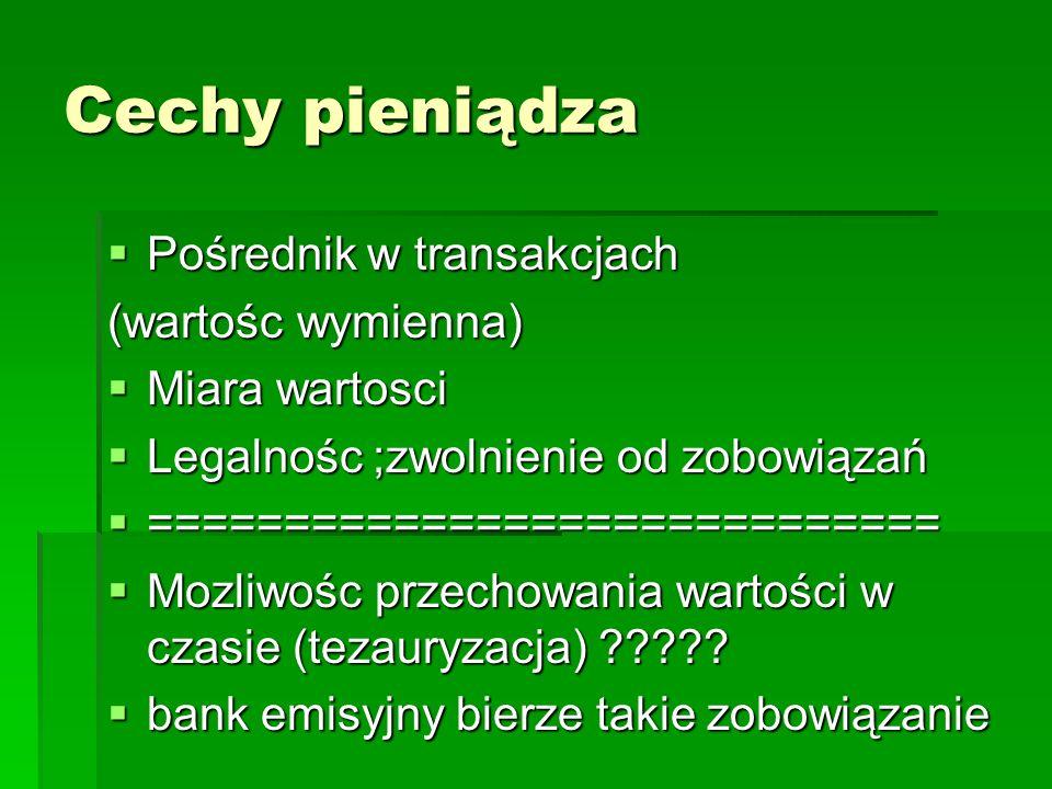 Cechy pieniądza Pośrednik w transakcjach (wartośc wymienna)