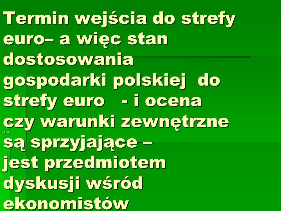 Termin wejścia do strefy euro– a więc stan dostosowania gospodarki polskiej do strefy euro - i ocena czy warunki zewnętrzne są sprzyjające – jest przedmiotem dyskusji wśród ekonomistów