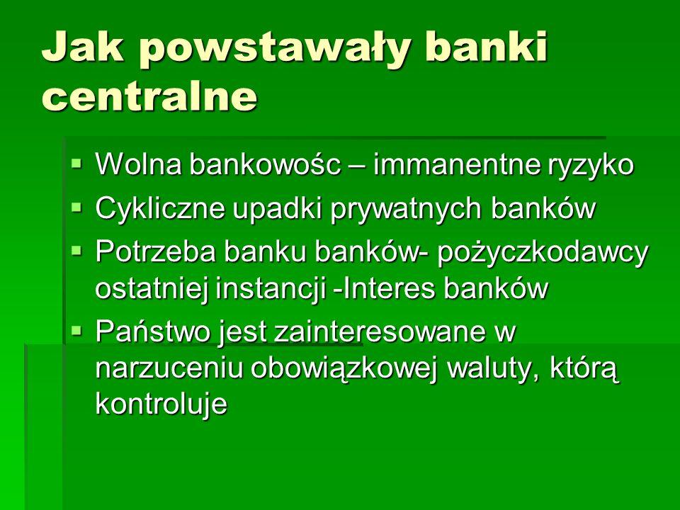 Jak powstawały banki centralne