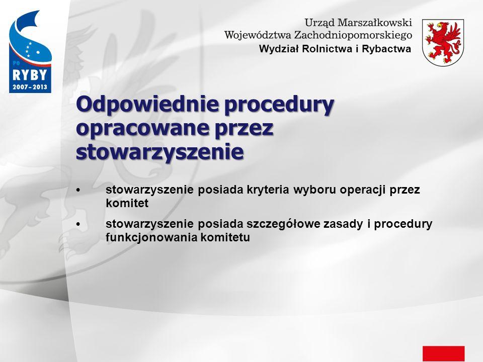 Odpowiednie procedury opracowane przez stowarzyszenie