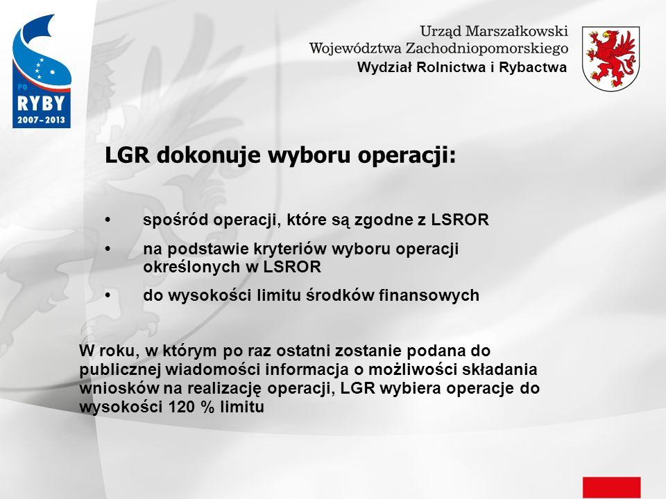LGR dokonuje wyboru operacji: