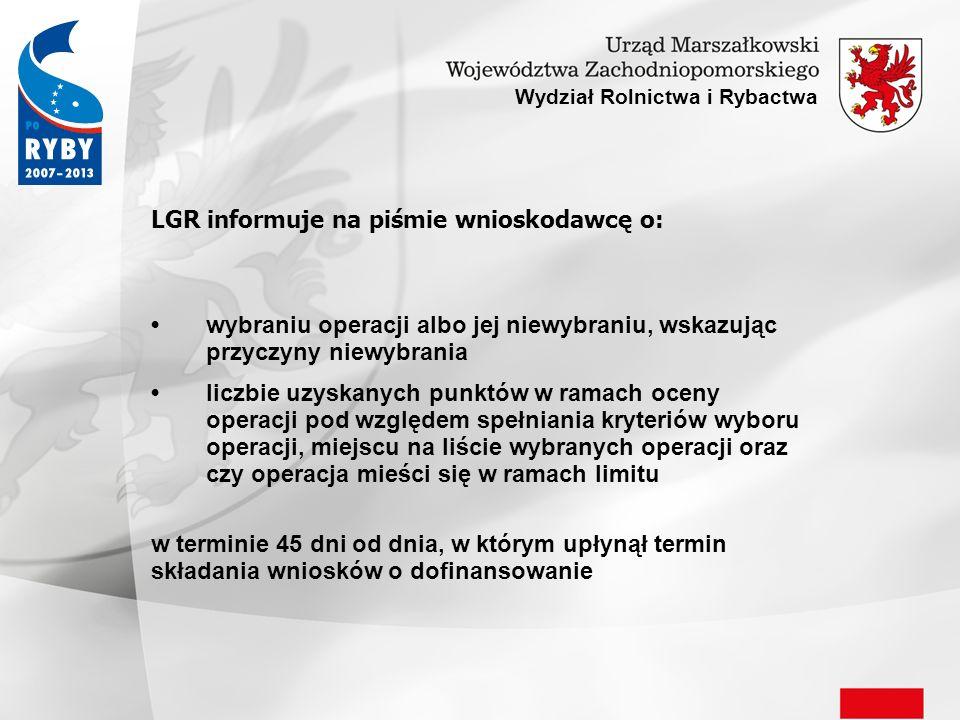 LGR informuje na piśmie wnioskodawcę o: