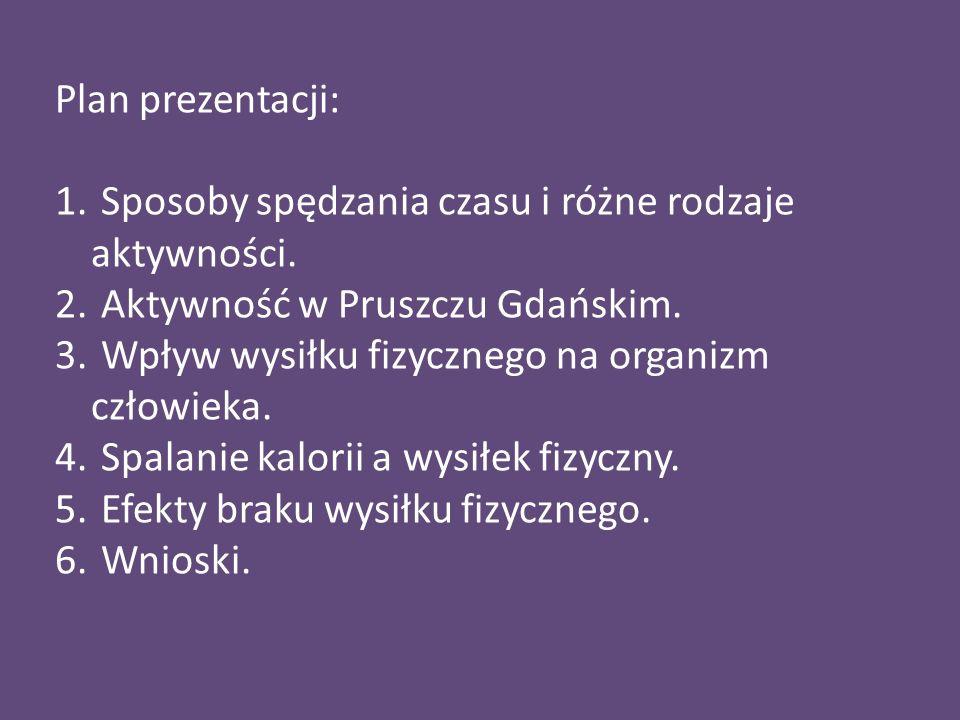 Plan prezentacji:Sposoby spędzania czasu i różne rodzaje aktywności. Aktywność w Pruszczu Gdańskim.