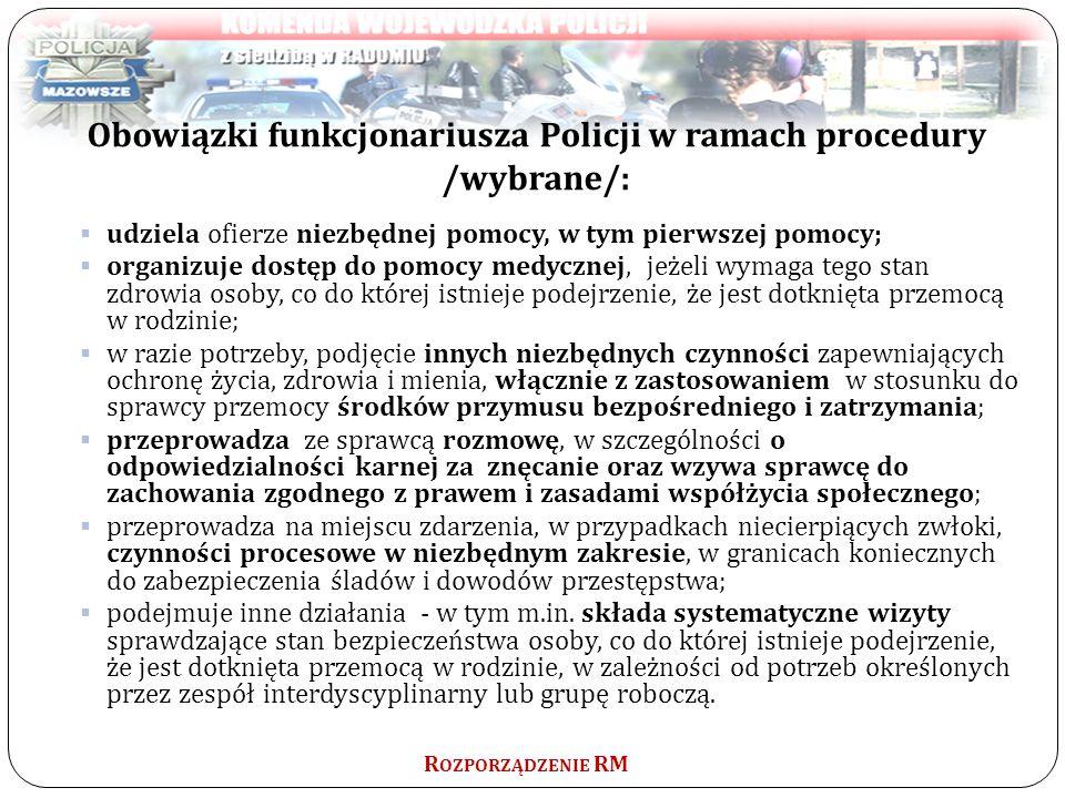 Obowiązki funkcjonariusza Policji w ramach procedury /wybrane/: