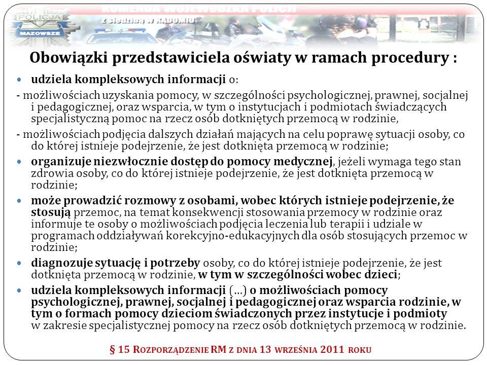 Obowiązki przedstawiciela oświaty w ramach procedury :