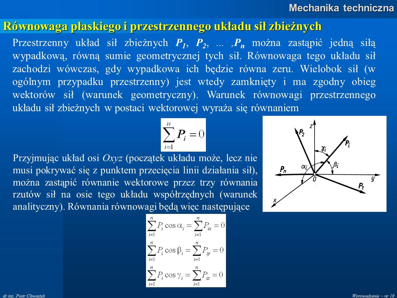 Równowaga płaskiego i przestrzennego układu sił zbieżnych
