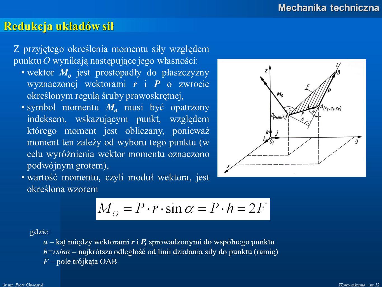 Redukcja układów sił Z przyjętego określenia momentu siły względem punktu O wynikają następujące jego własności: