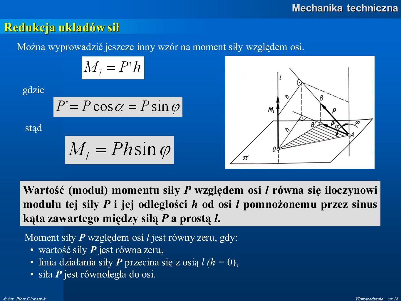 Redukcja układów sił Można wyprowadzić jeszcze inny wzór na moment siły względem osi. gdzie. stąd.