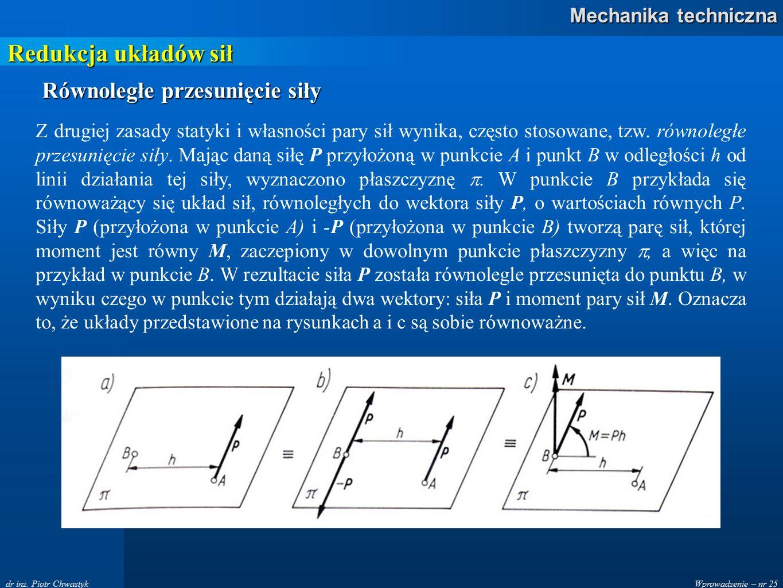 Redukcja układów sił Równoległe przesunięcie siły