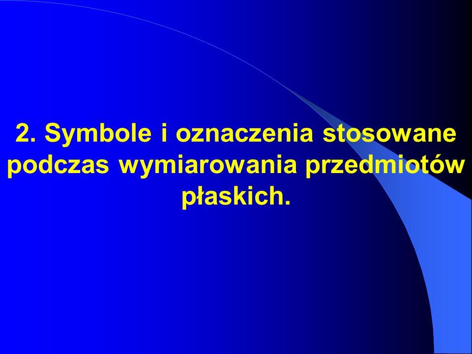 2. Symbole i oznaczenia stosowane podczas wymiarowania przedmiotów płaskich.