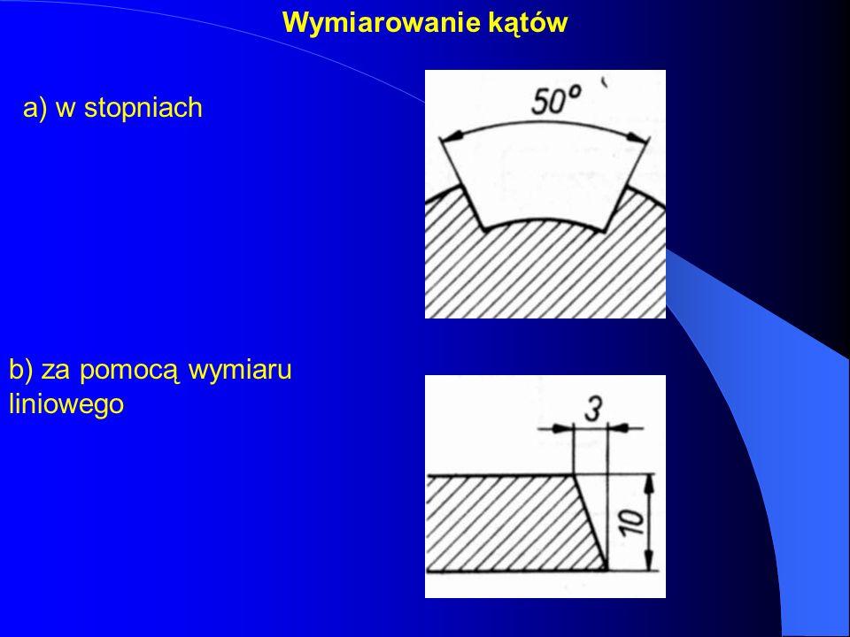 Wymiarowanie kątów a) w stopniach b) za pomocą wymiaru liniowego