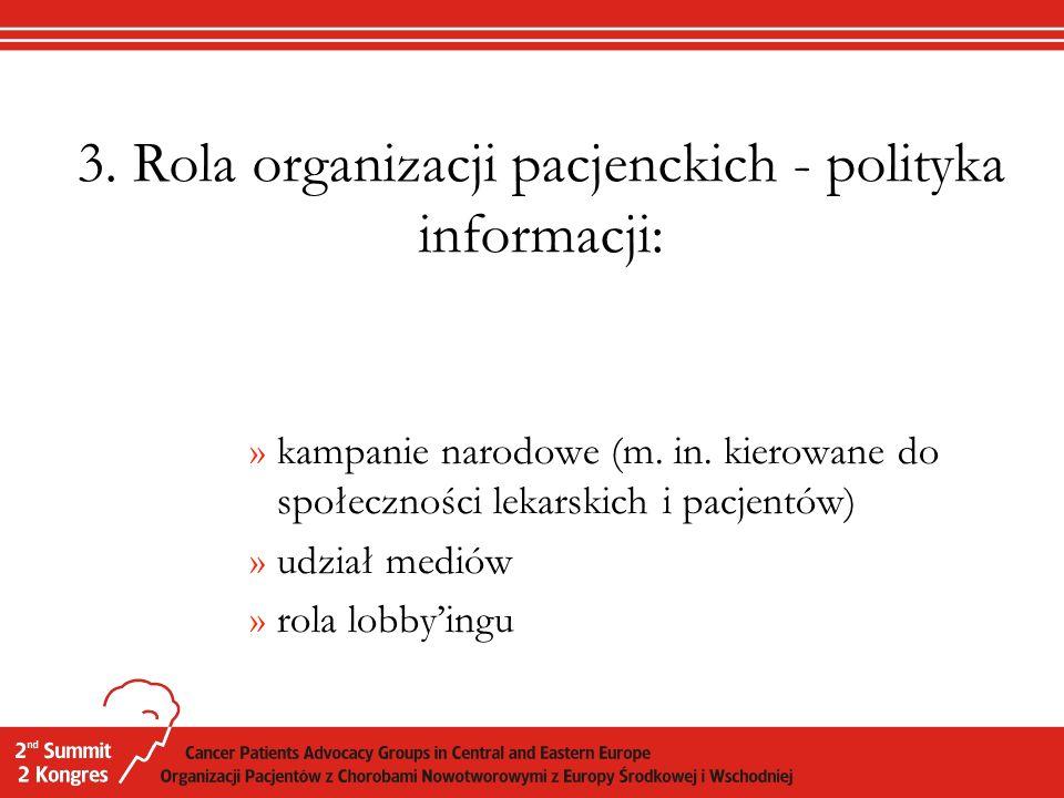 3. Rola organizacji pacjenckich - polityka informacji: