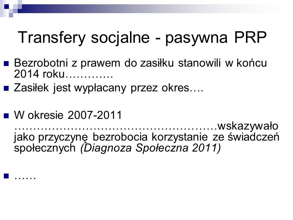 Transfery socjalne - pasywna PRP