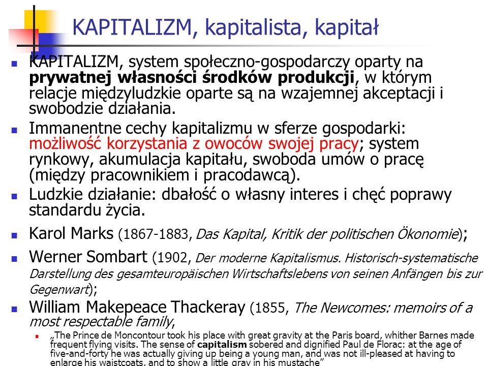 KAPITALIZM, kapitalista, kapitał