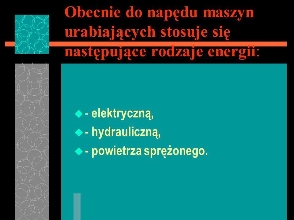Obecnie do napędu maszyn urabiających stosuje się następujące rodzaje energii: