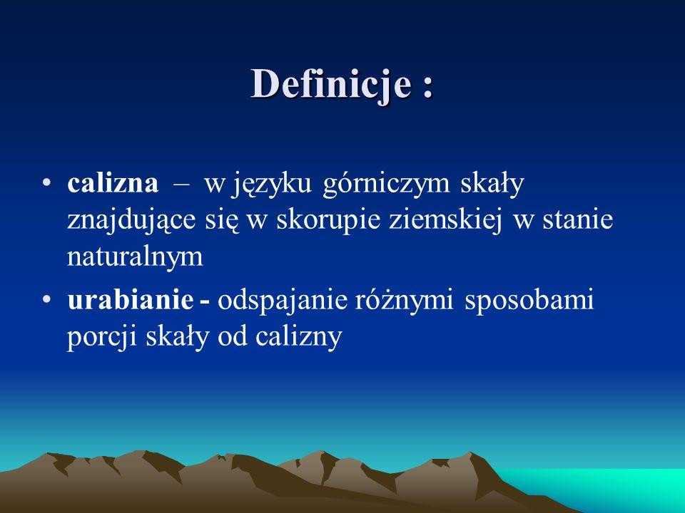 Definicje : calizna – w języku górniczym skały znajdujące się w skorupie ziemskiej w stanie naturalnym.