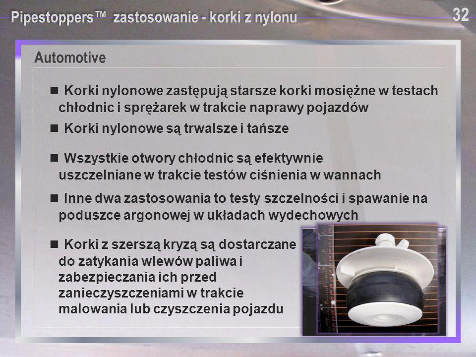 Automotive 32 Pipestoppers™ zastosowanie - korki z nylonu