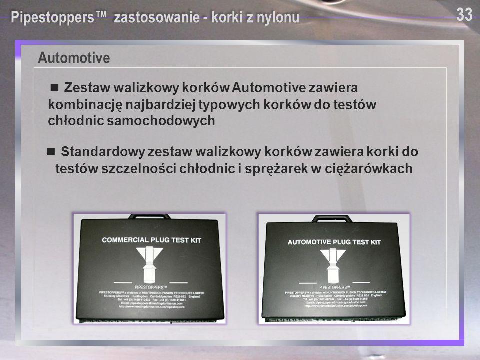 Automotive 33 Pipestoppers™ zastosowanie - korki z nylonu