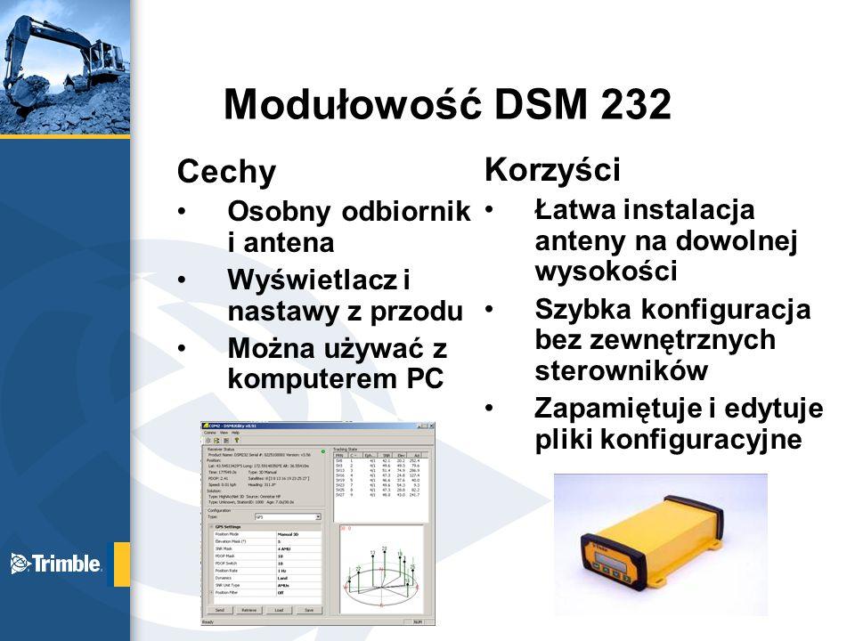 Modułowość DSM 232 Cechy Korzyści Osobny odbiornik i antena