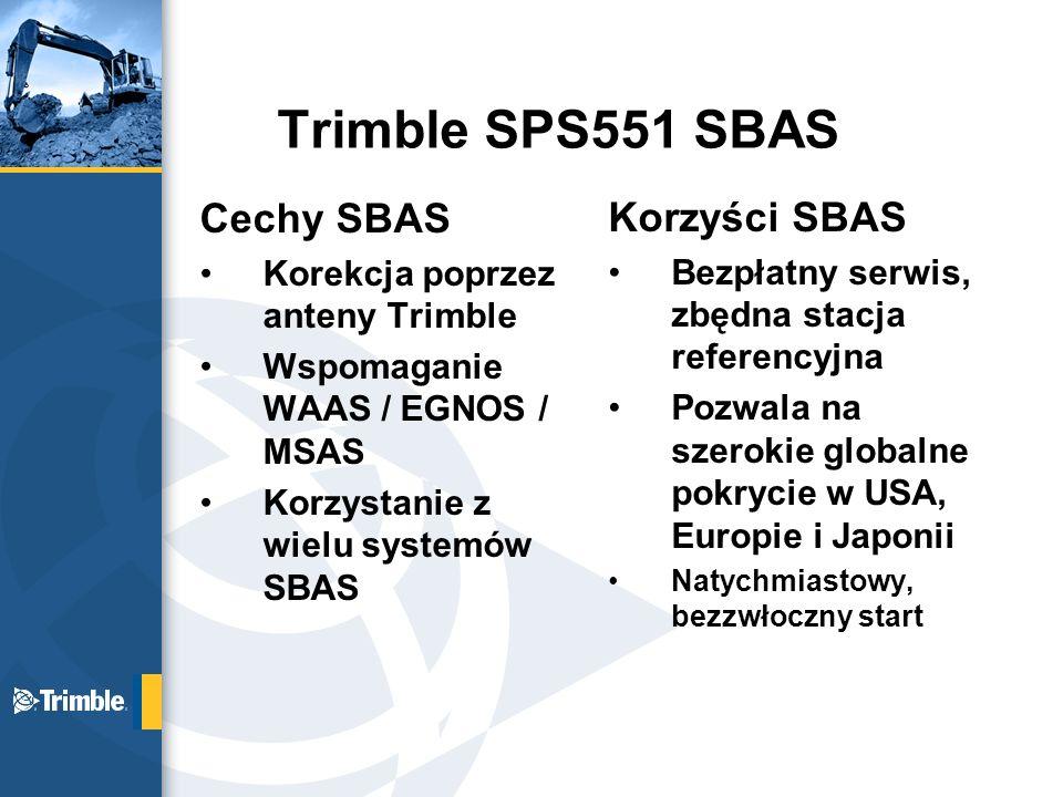 Trimble SPS551 SBAS Cechy SBAS Korzyści SBAS
