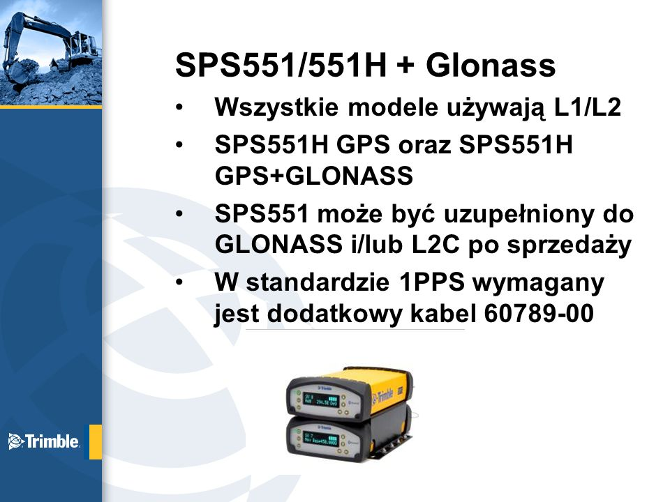 SPS551/551H + Glonass Wszystkie modele używają L1/L2