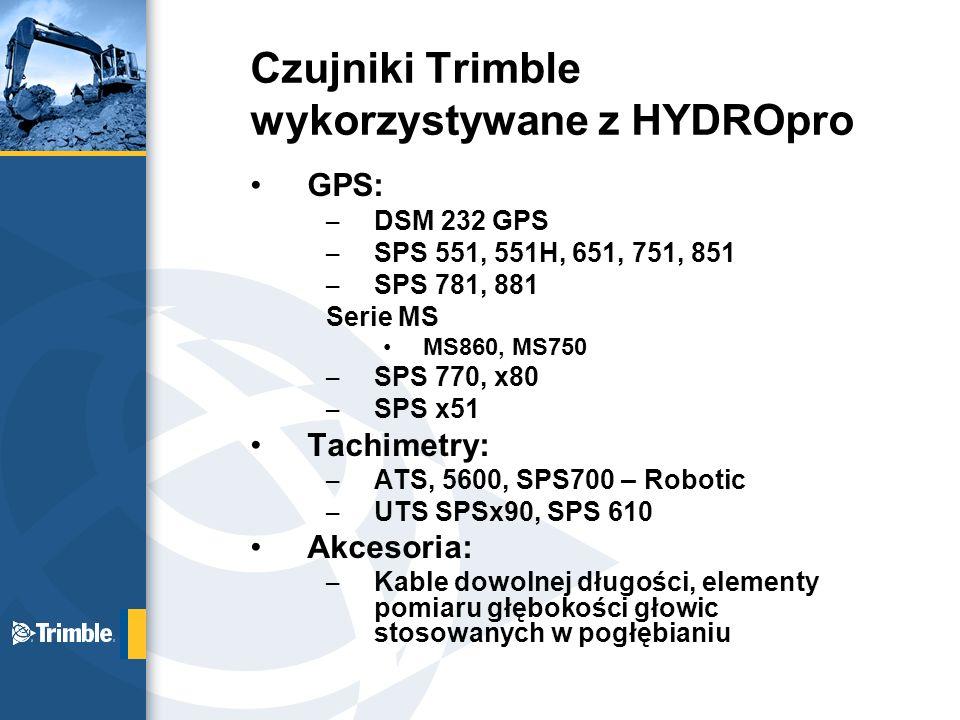 Czujniki Trimble wykorzystywane z HYDROpro