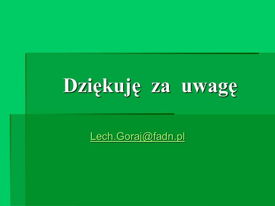 Dziękuję za uwagę Lech.Goraj@fadn.pl