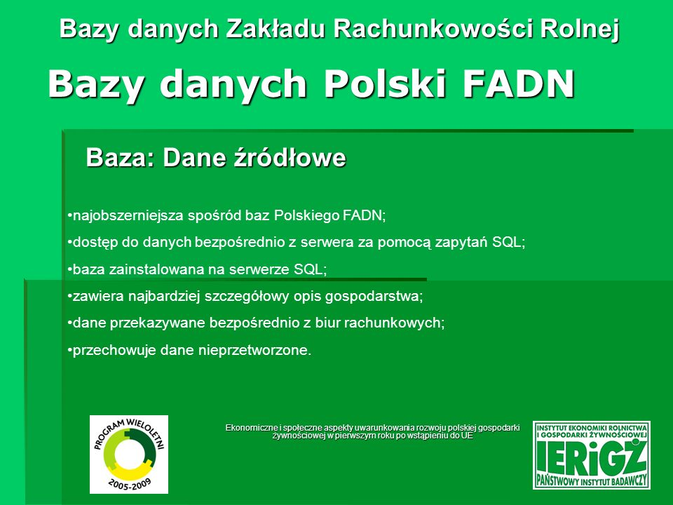 Bazy danych Polski FADN
