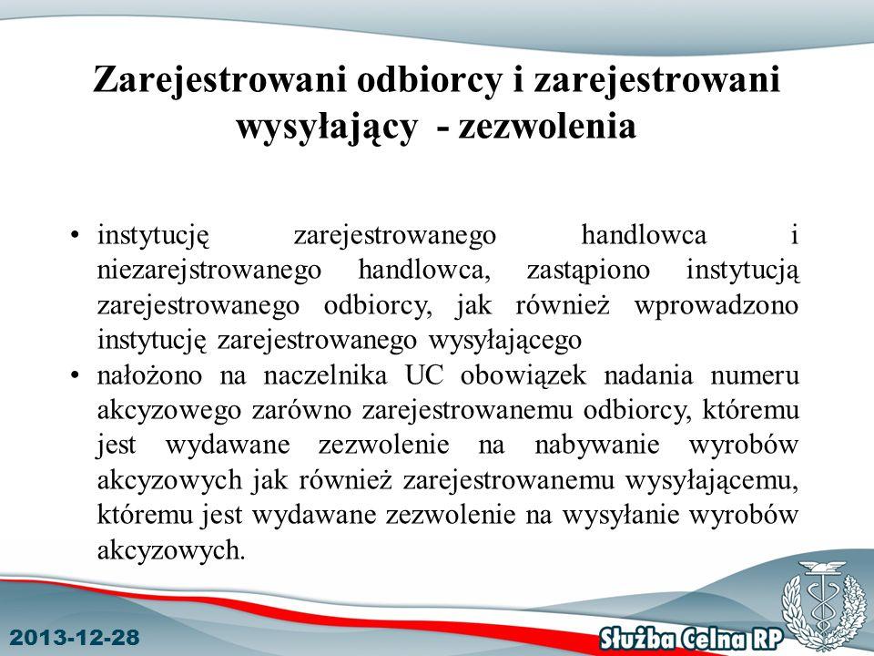 Zarejestrowani odbiorcy i zarejestrowani wysyłający - zezwolenia