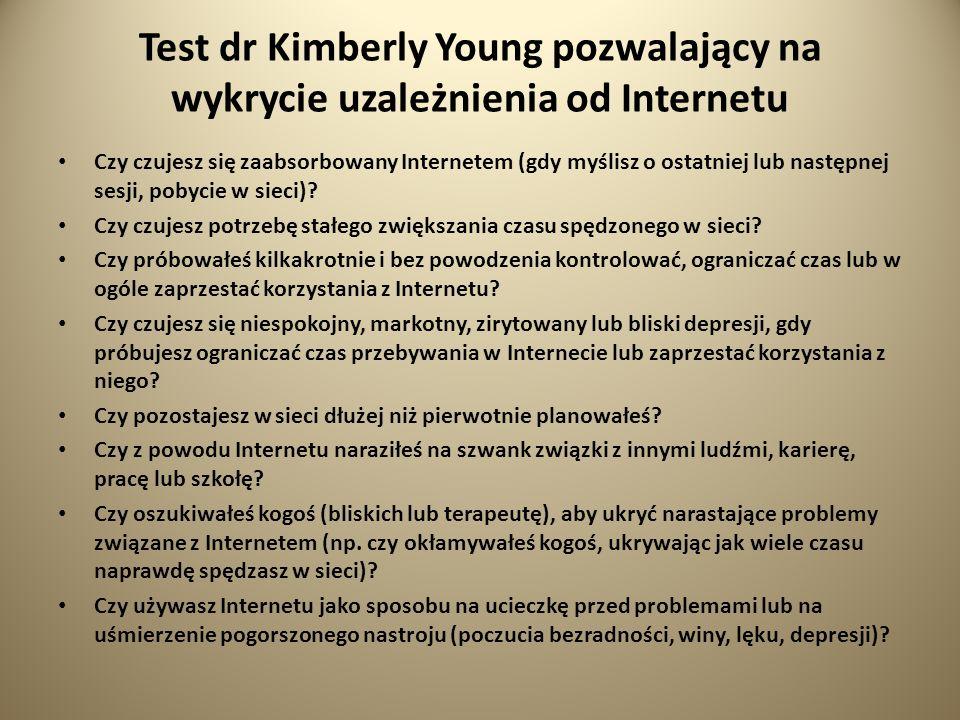 Test dr Kimberly Young pozwalający na wykrycie uzależnienia od Internetu