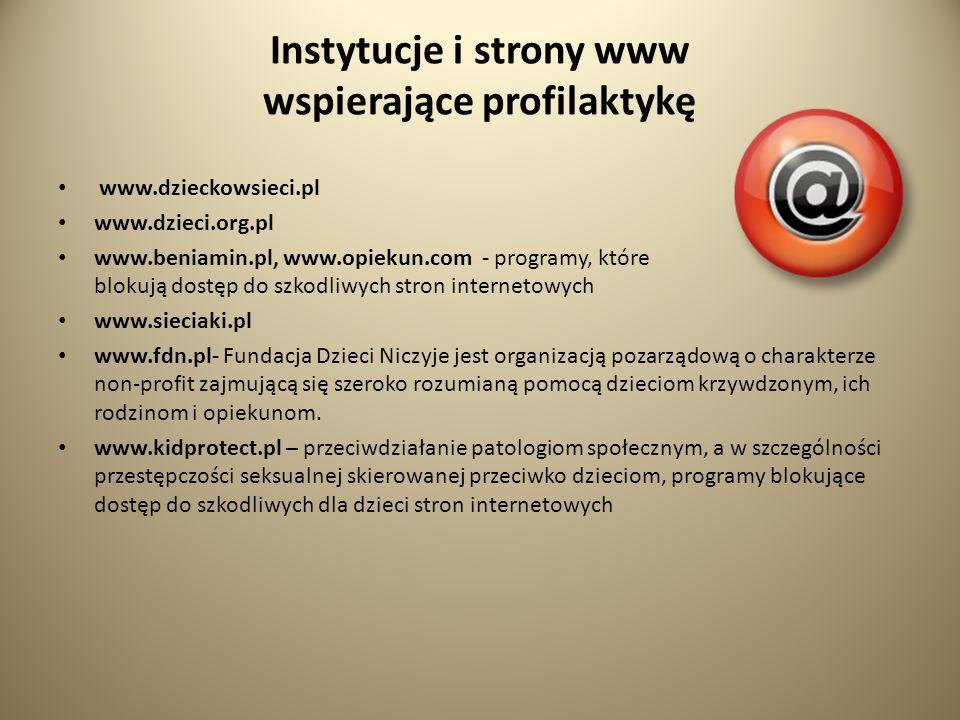 Instytucje i strony www wspierające profilaktykę