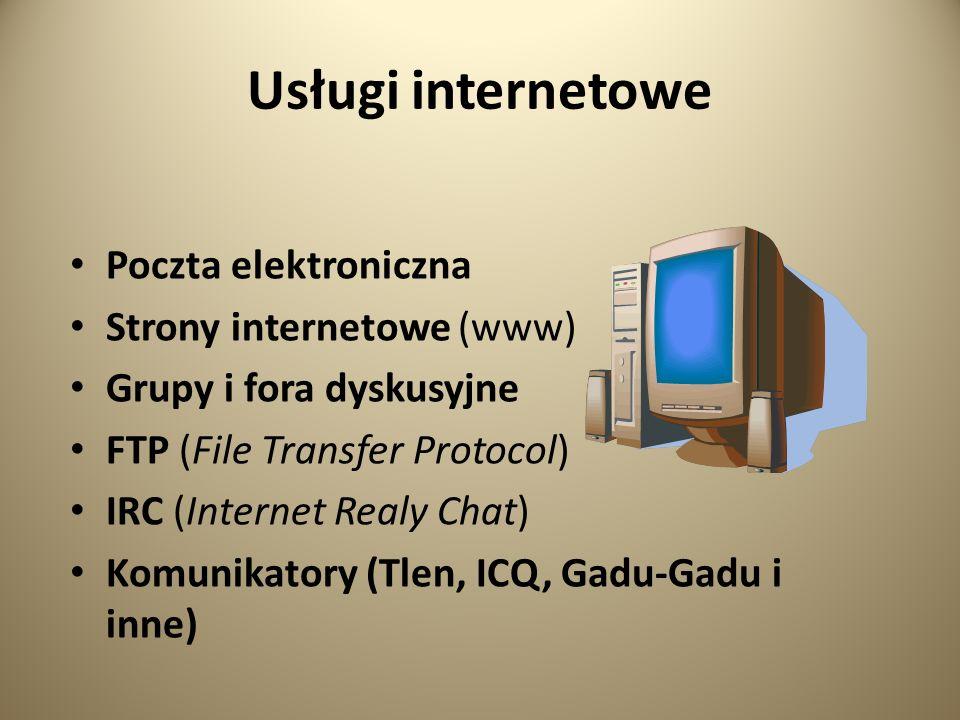 Usługi internetowe Poczta elektroniczna Strony internetowe (www)