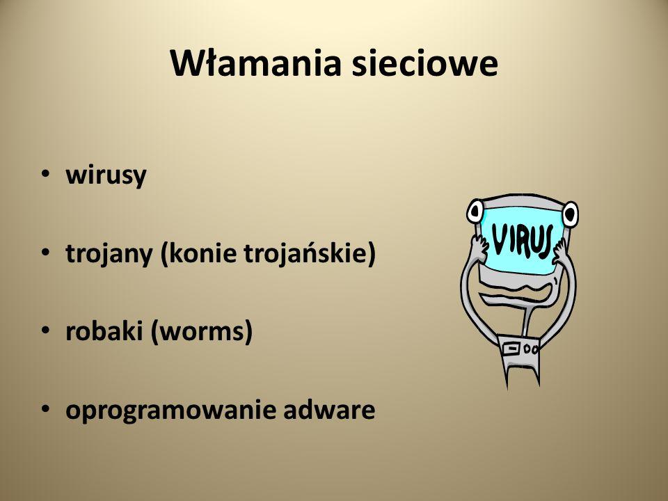 Włamania sieciowe wirusy trojany (konie trojańskie) robaki (worms)